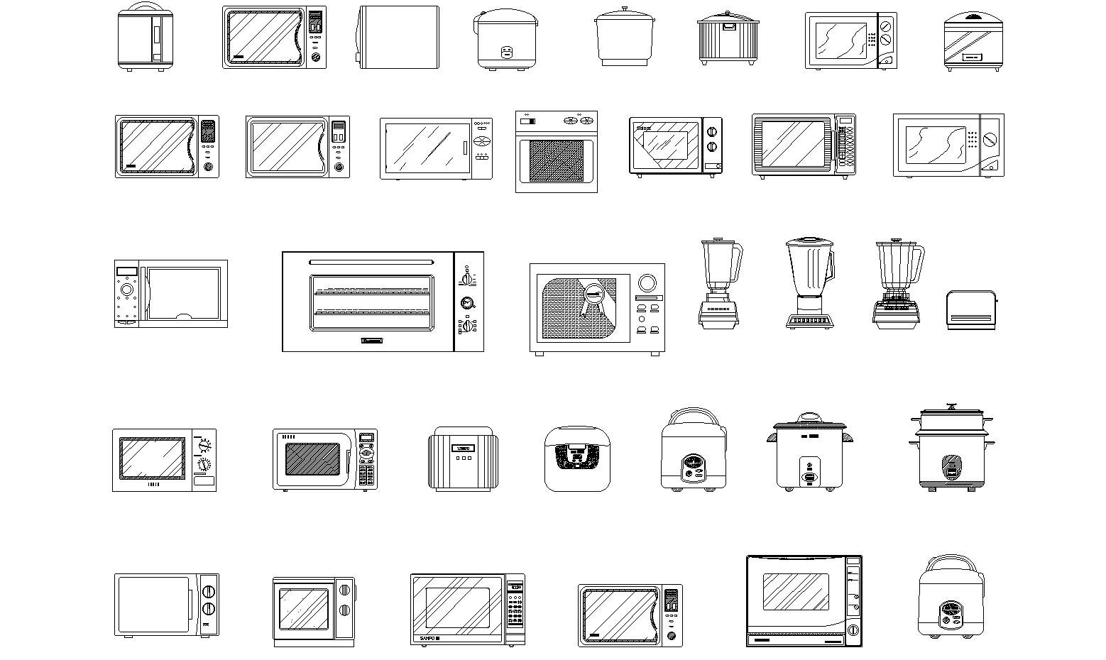 Kitchen appliances detail dwg.