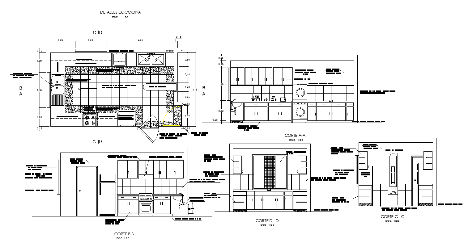 Kitchen Building Cad Structure Detail Elevation And Section