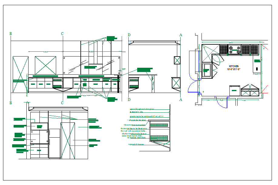 Kitchen detail information dwg file