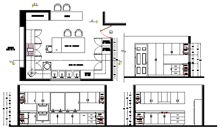Kitchen details with cut sectional view design dwg file