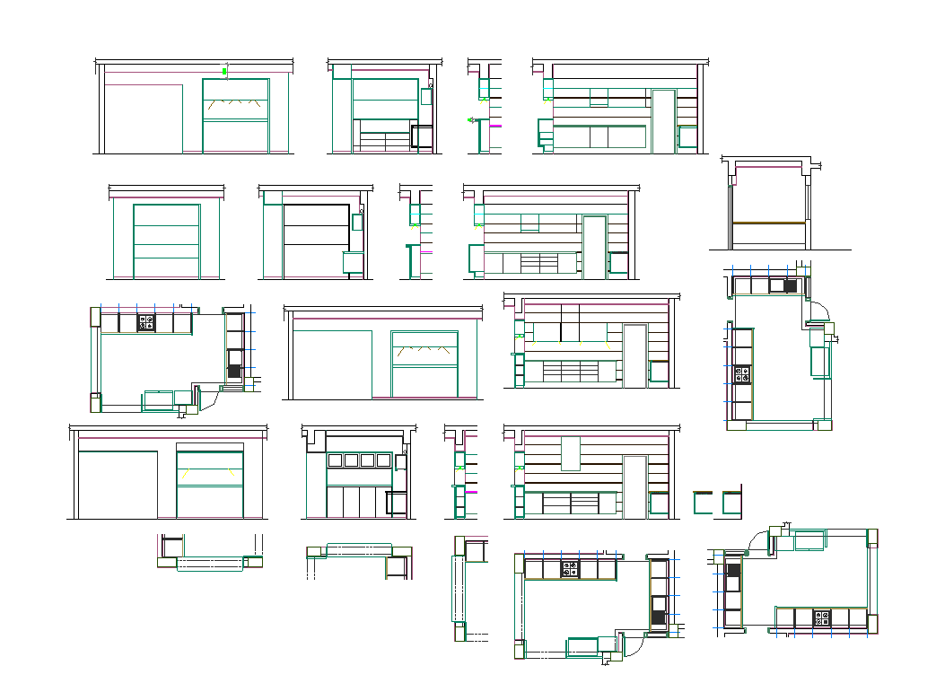 Kitchen Plan And Elevation Layout Autocad File Cadbull