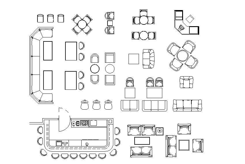 Kitchen plan and furniture detail dwg file