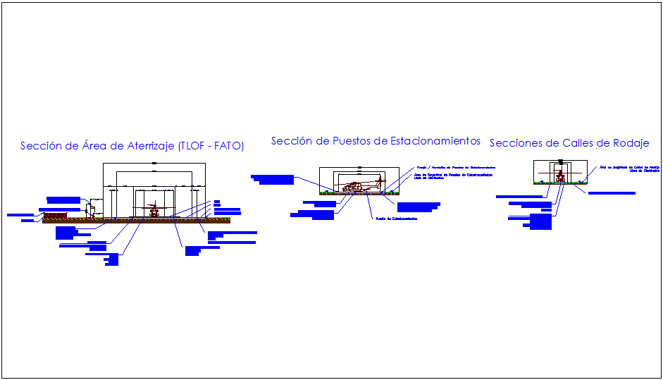 Landing area section view of helicopter near hospital area dwg file