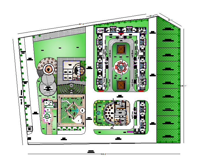 Landscape Plan of Clubhouse dwg file