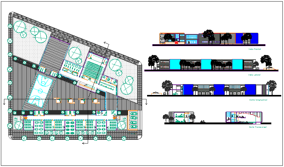 Landscape view and elevation view of collage dwg file