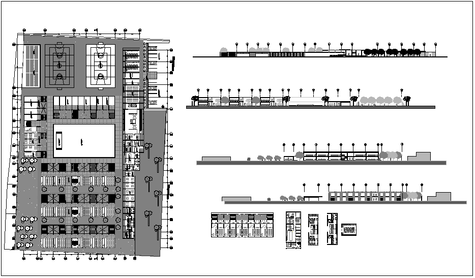 Landscape view and elevation view of school dwg file