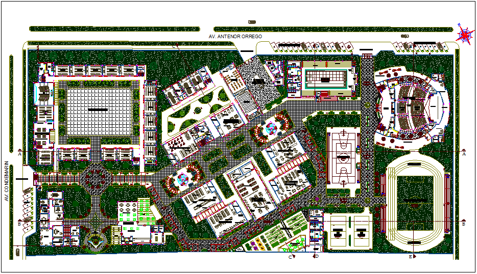 Landscape view of education center plan view dwg file