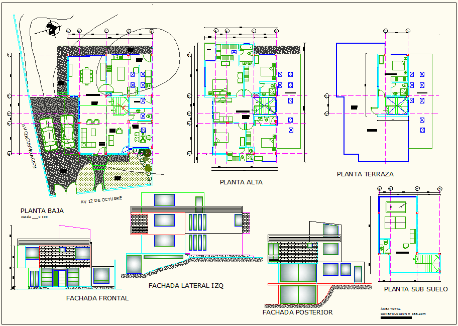 Landscape view of house with elevation and plan view dwg file