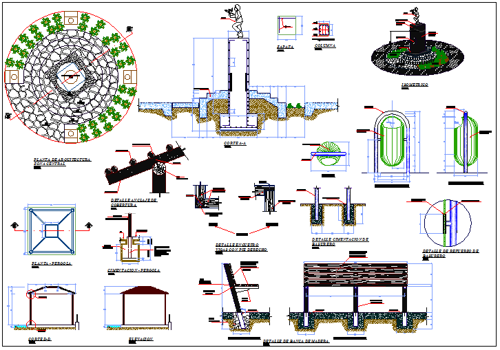 Landscaping and equipment details of public garden dwg file