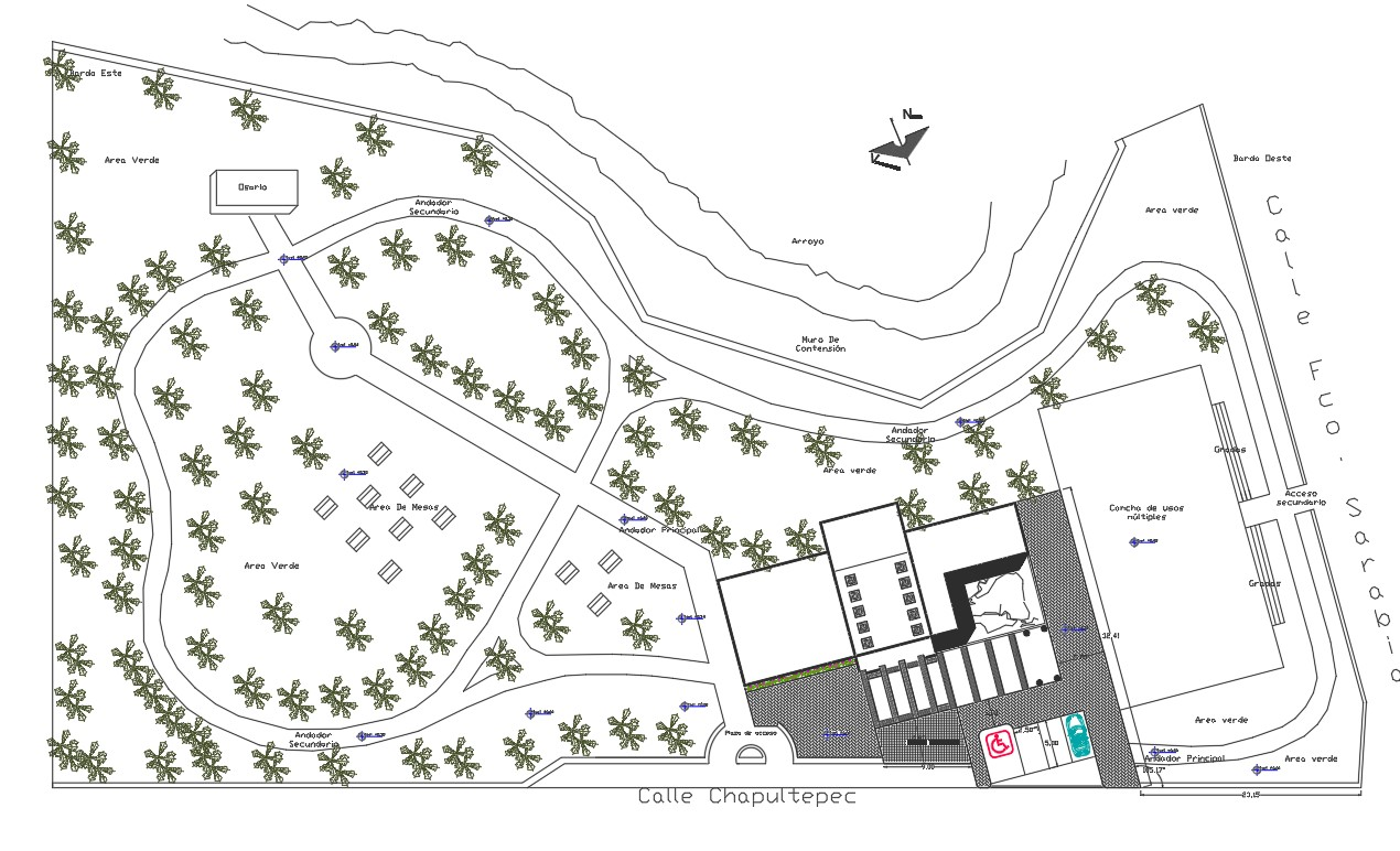 Landscaping building plan detail dwg file