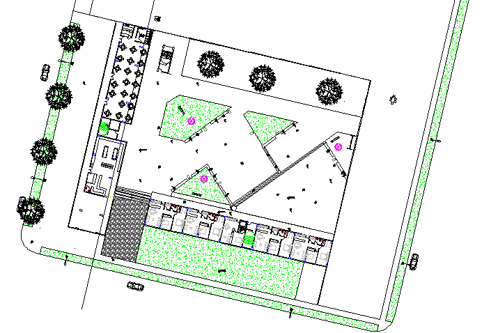 Landscaping details of multi-family residential flats dwg file