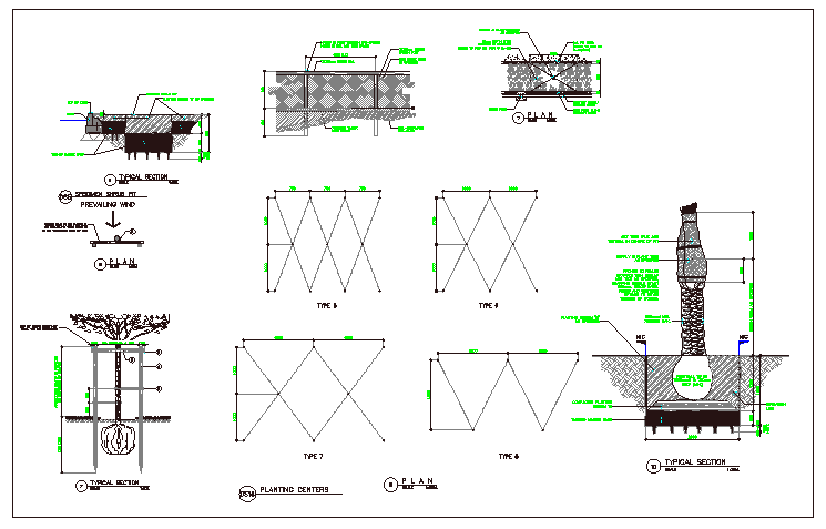 Landscaping of tree planing and planting details of garden dwg file