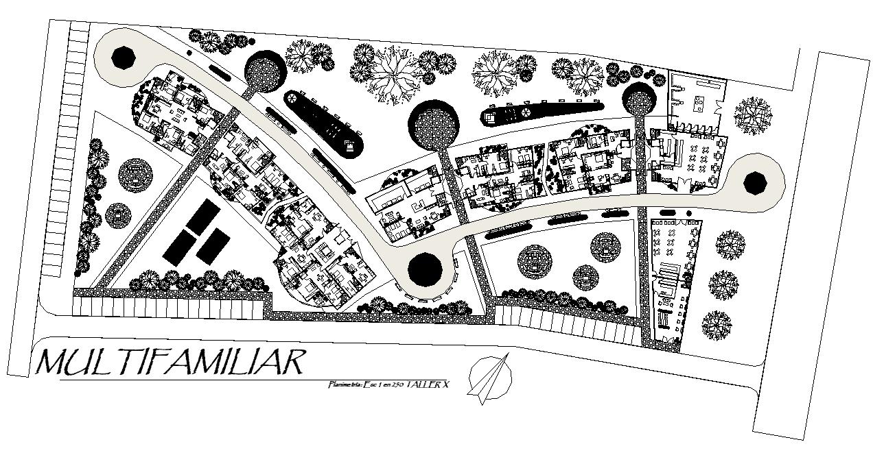 Landscaping plot housing detail dwg file