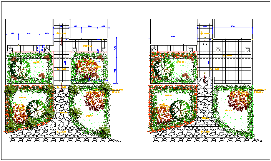 Landscaping view of garden with remodeling dwg file