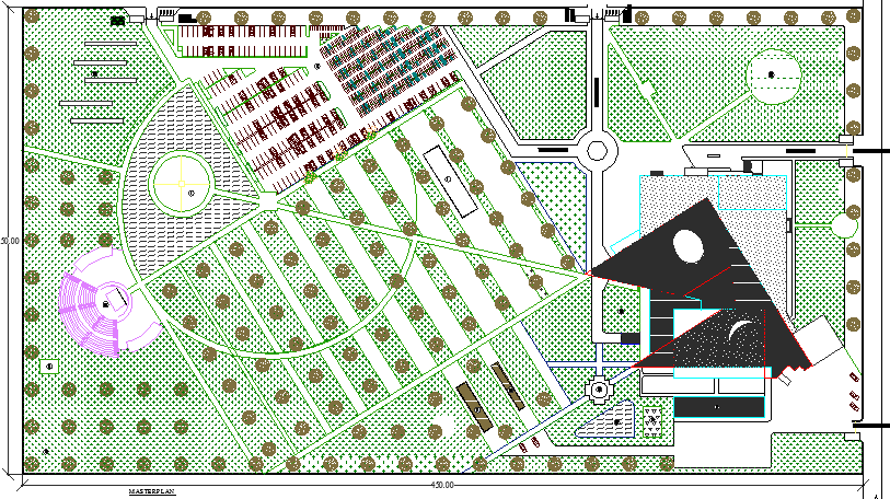 Landscaping view with layout of convention center dwg file