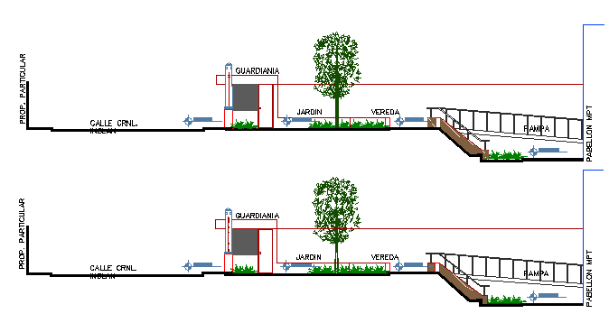 Landscaping with security cabin of municipal office building dwg file