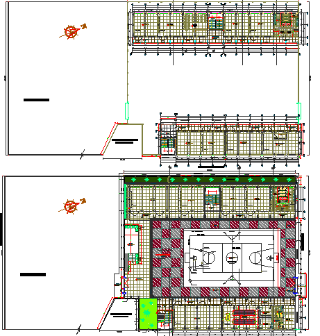 Landscaping with structure details of two flooring school dwg file