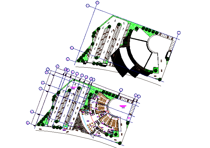 Layout multi cinemas working plan detail dwg file