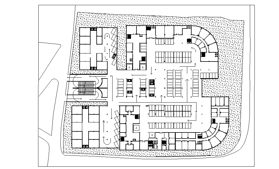 Layout plan of Car parking basement dwg file