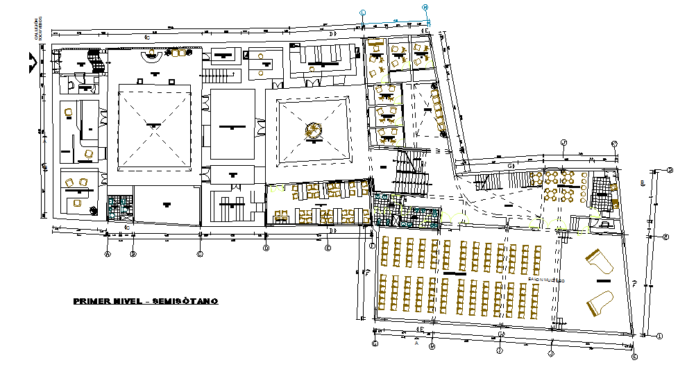 Layout plan of a musical school dwg file