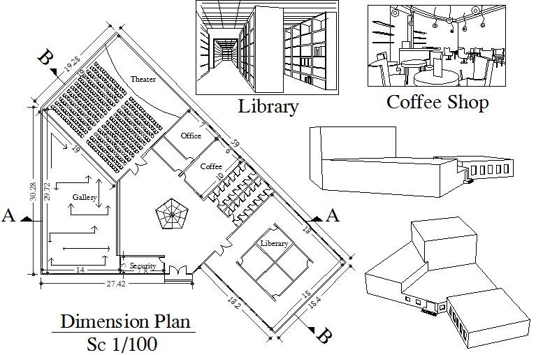 Layout theatre plan detail dwg file