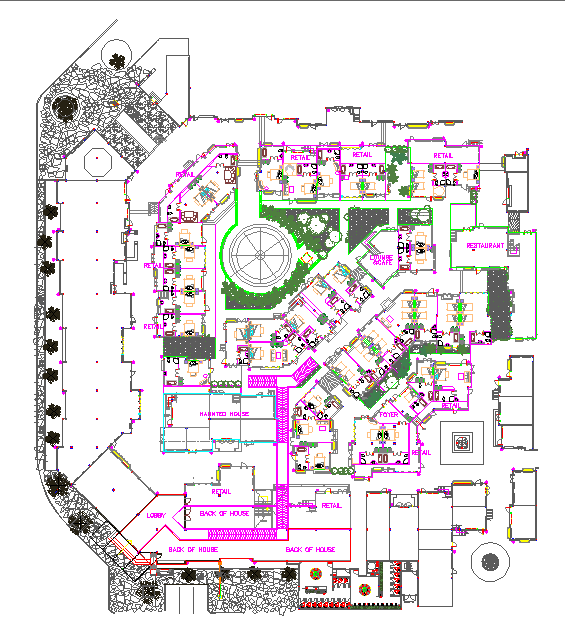 Layoutplan of hotel with interior floor plan and elevations dwg file