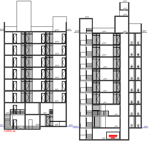 Left and right side sectional view of office building dwg file