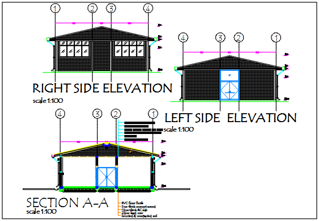 Left side elevation and right side elevation and section A-A' detail dwg file