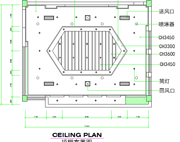 Lighting details of ceiling of kitchen dwg file