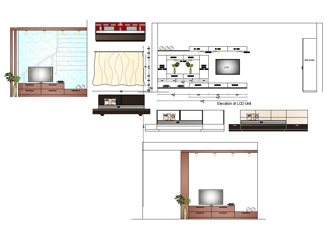 Living Room Furniture Detail Elevation Layout File