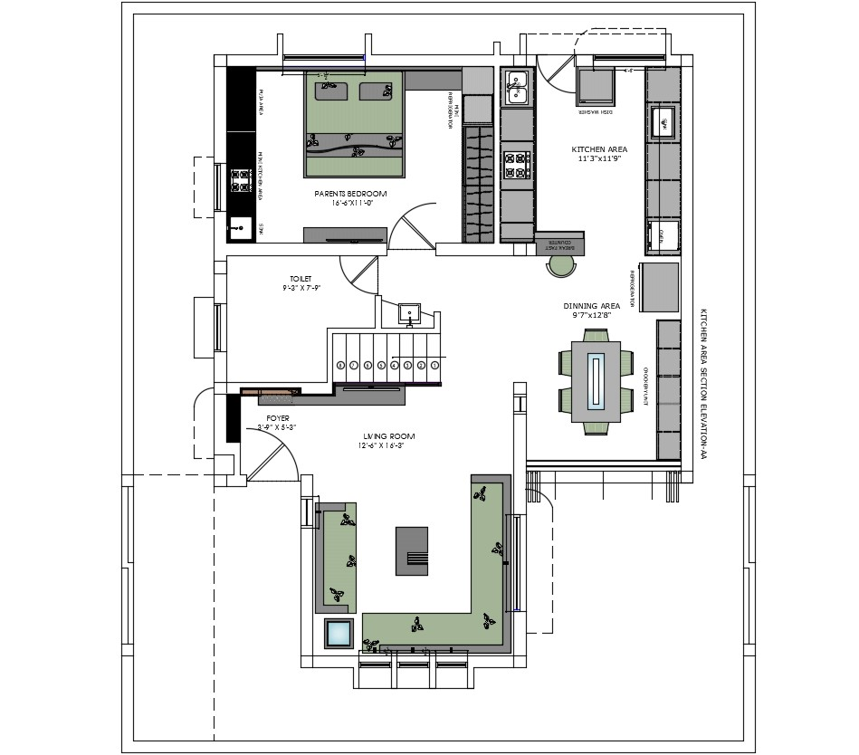 Living room furniture layout plan in AutoCAD file