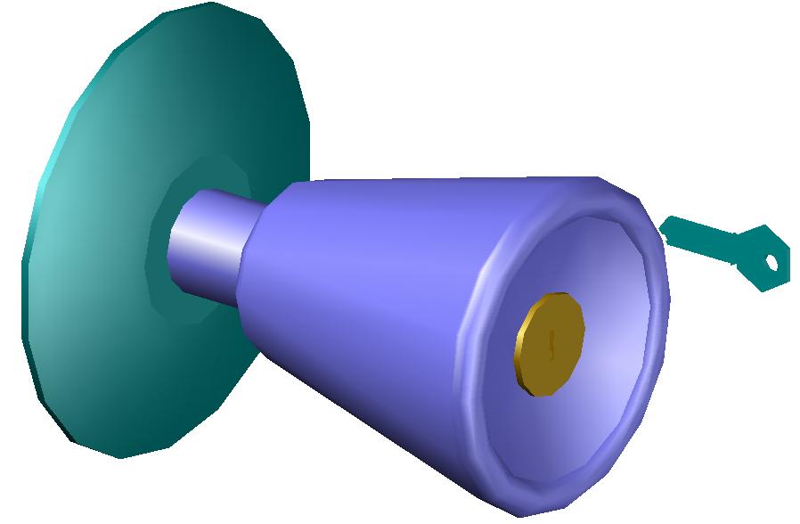 Lock design for door in 3d view