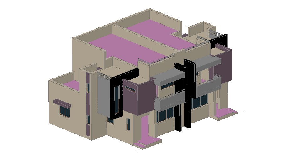 Luxuries multi-level 3d bungalow cad drawing details dwg file