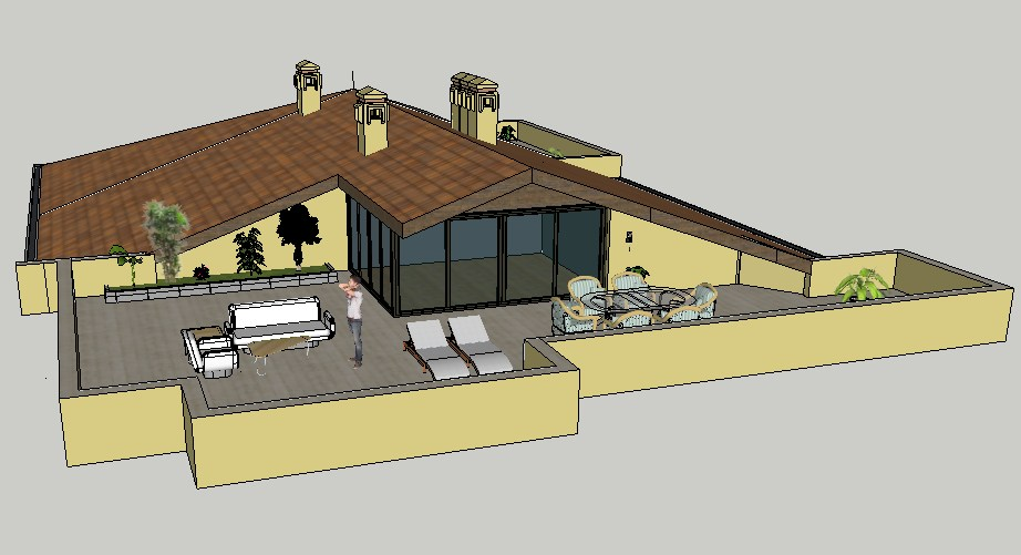 Luxuries one family bungalow 3d elevation cad drawing details dwg file