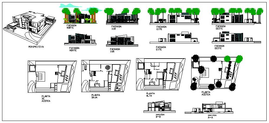 Luxury modern house design drawing