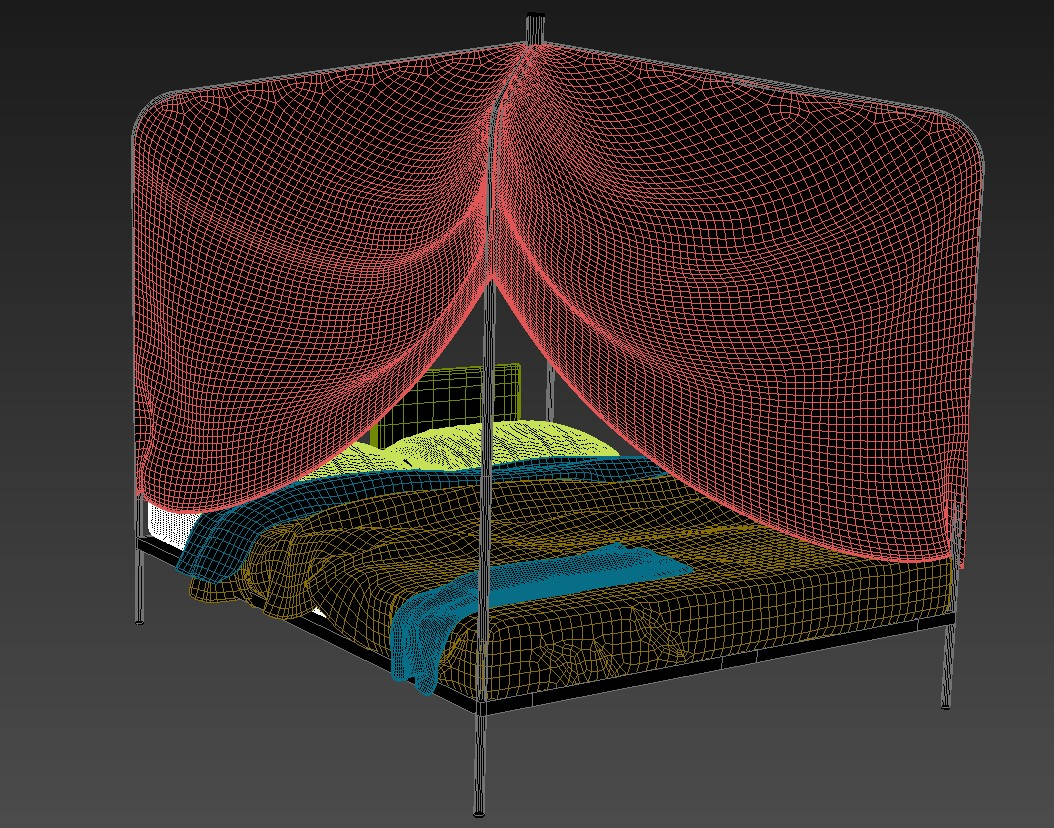 MS Bed Canopy With Mosquito Net 3D MAX File