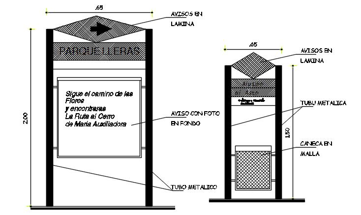 Machine elevation detail dwg file