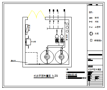 Machine room Layout plan of swimming pool design drawing