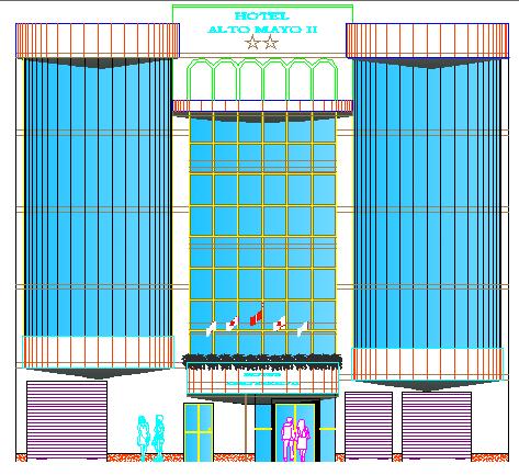 Main Elevation of Multi-Flooring Hotel Architecture Design dwg file