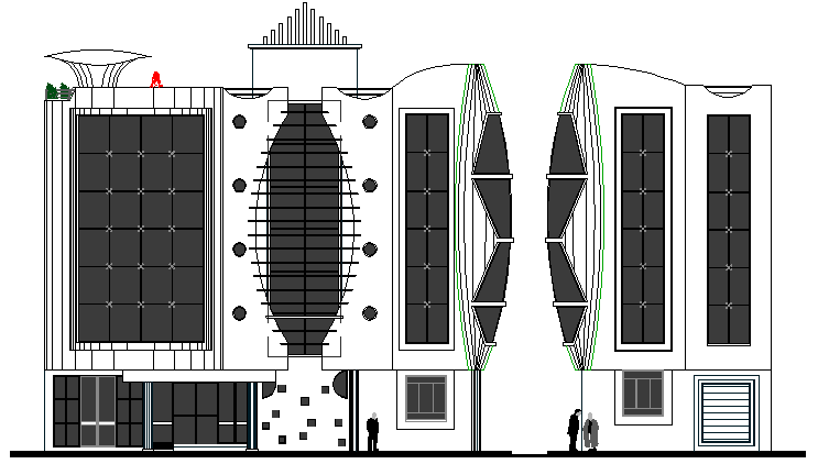 Main Elevation of Three Star Hotel Architecture Design dwg file