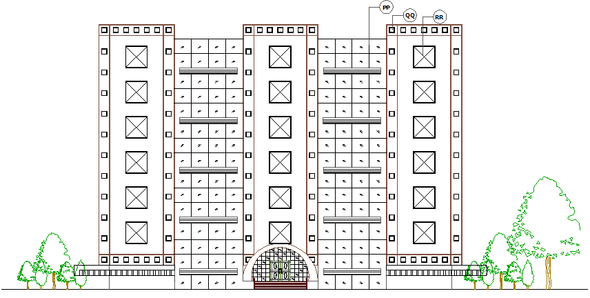 Main elevation view of corporation office building details dwg file