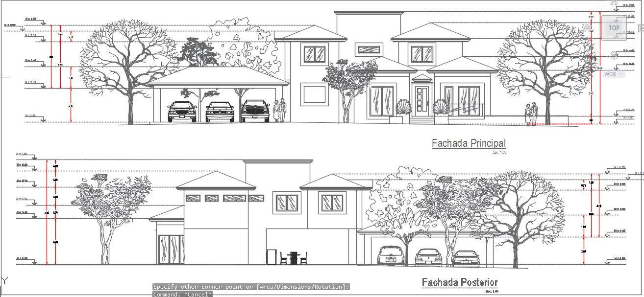 Main view and rear view of residential house.