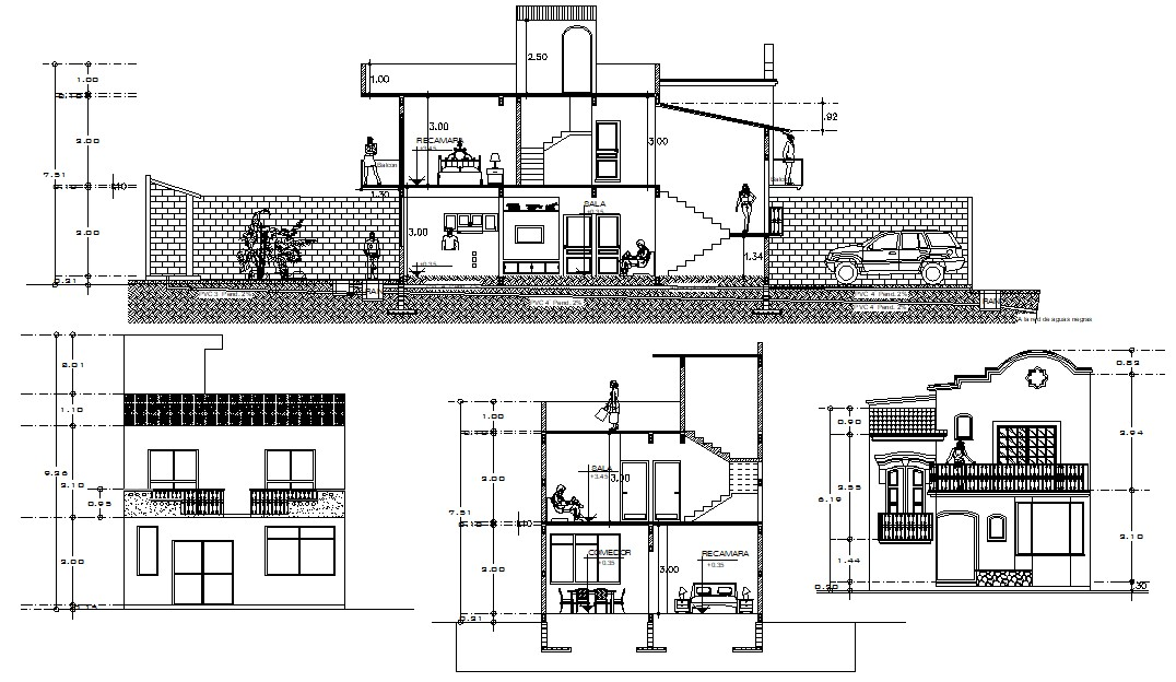 Mansion Design Elevation and Section CAD drawing