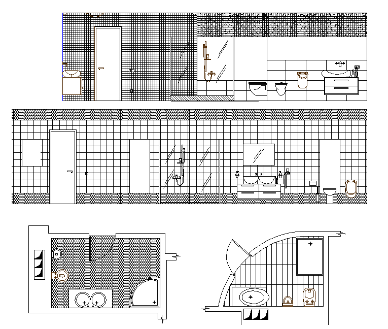 Master bathroom sectional elevation dwg file