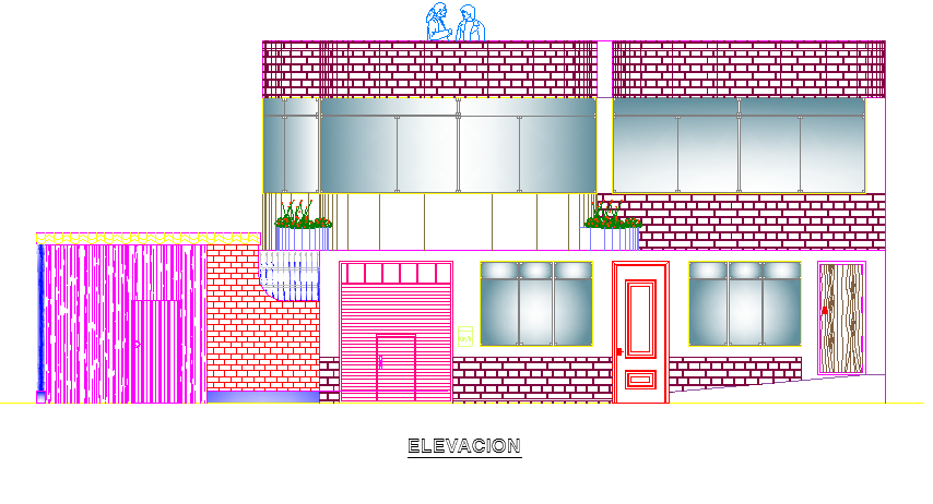 Material finish elevation of different sides of house dwg file