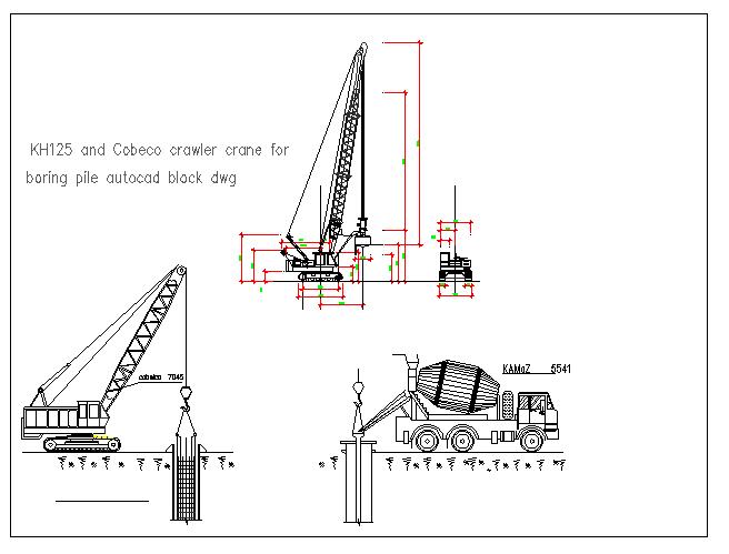 Mechanical drawing of crawler crane for boring dwg file