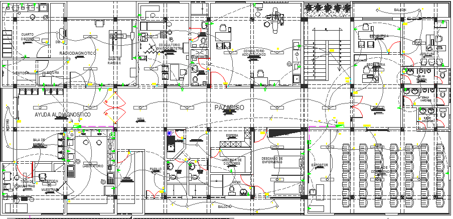Medical Health Center Architecture Design,  Electric Installation dwg file
