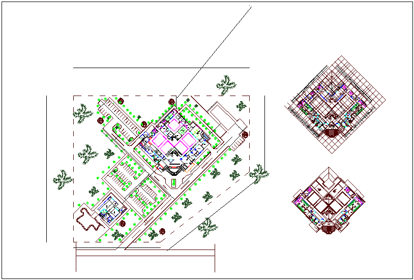 Medical center floor plan view with architectural view dwg file