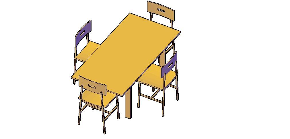 Meeting Table 3D Model In DWG File