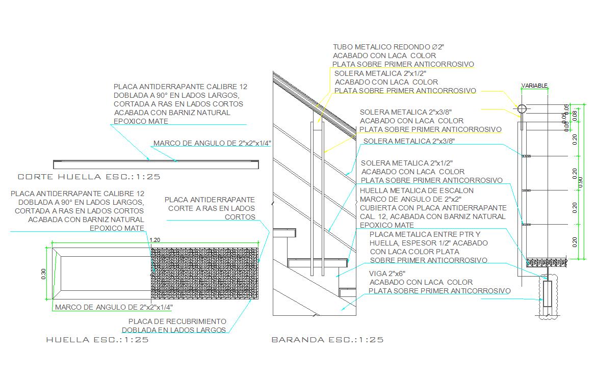 Metal steel railing detail and design dwg files